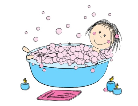 bubble bath: Cute girl take a bath Illustration