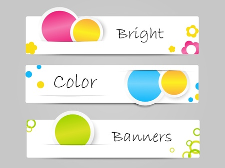 horizontal banner: Set of color vector banners