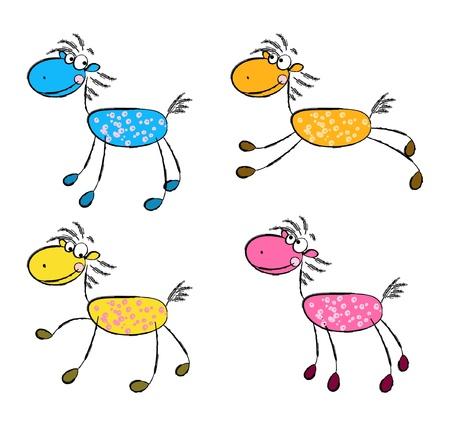 caballo caricatura: Juego de caballos lindos de la historieta