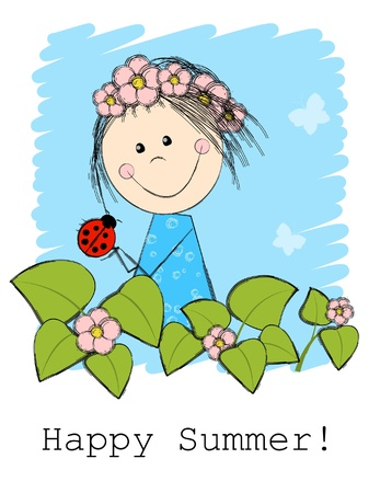 Cute summer girl with ladybird Vector