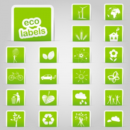 Set of green ecology labels Vector
