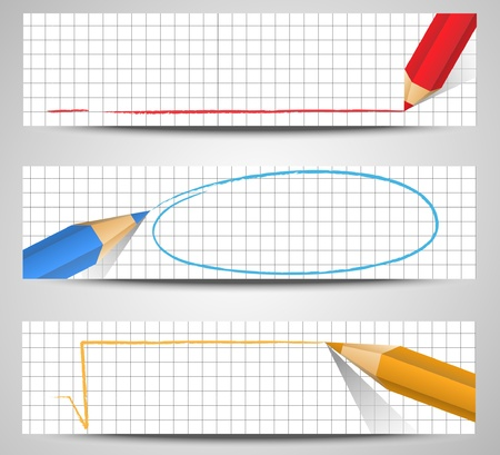 Set of banners with pencil Vector