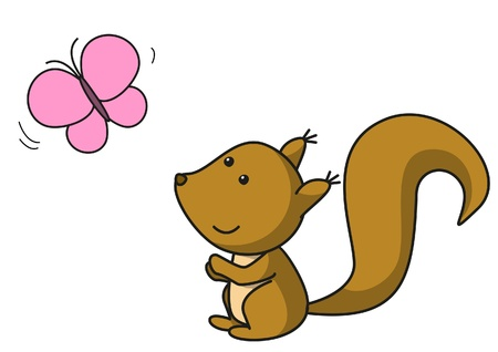 Squirrel is looking at the butterfly Vector