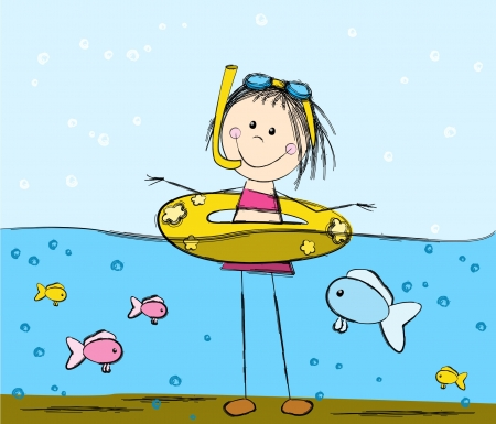 cartoon summer: Cute swimming girl and fishes Illustration