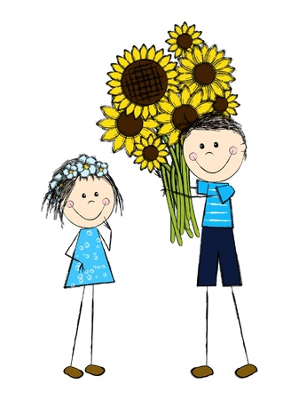 Girl and boy with sunflowers Vector
