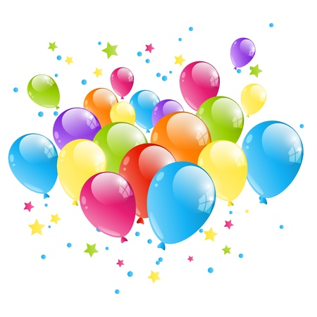 balloons party: Group of color balloon isolated on white