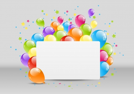 Happy Birthday background with banner and balloon Vector