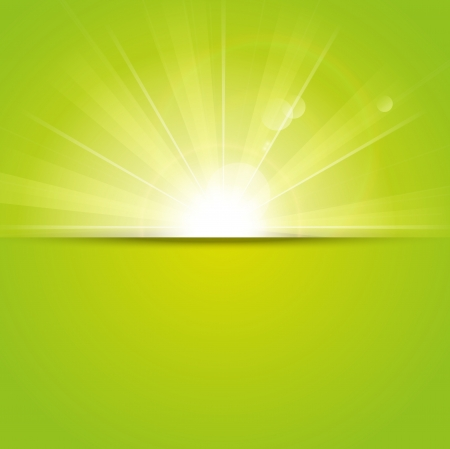 light burst: Green sunny background with place for text Illustration