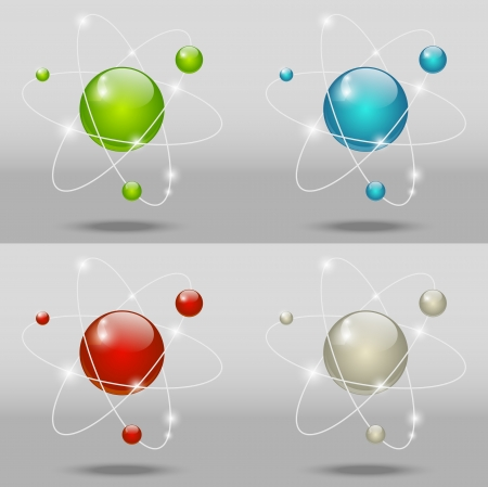 Glossy atomic icon Stock Vector - 14856749