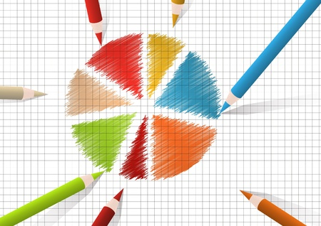 Color pencils drawing round diagram Vector