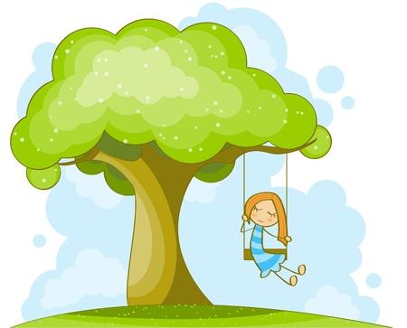 Cute petite fille sur la balan�oire Illustration