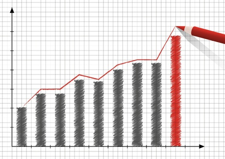 sales graph: Red pencil drawing positive graph Illustration