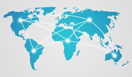 globális üzleti: Világ térkép - fogalom, a globális kommunikáció Illusztráció