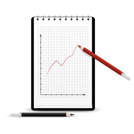 Red pencil drawing positive graph on the notebook Vector
