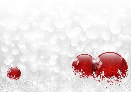 snow background: Christmas background with red balls and snowflakes Illustration