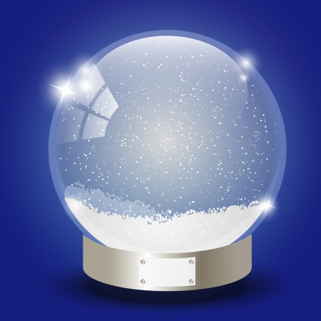 Xmas glass ball with snow inside Vector