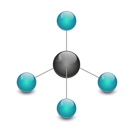 gas ball: Molecule of methane isolated on white