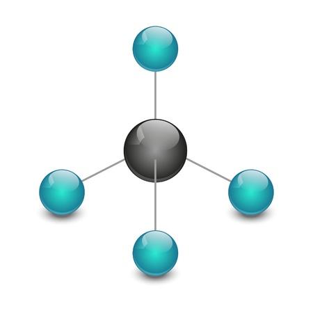 methane: Molecule of methane isolated on white
