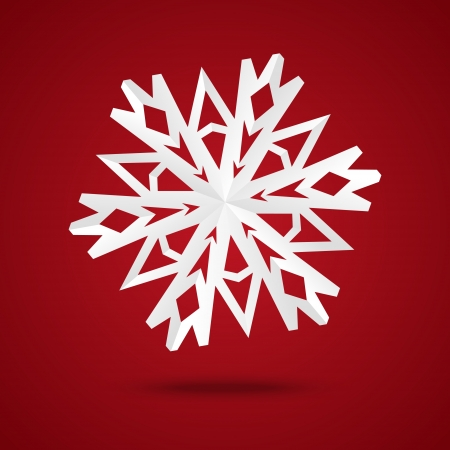Paper origami snowflake on red background Vector