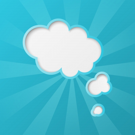 Paper clouds background with sun rays Vector