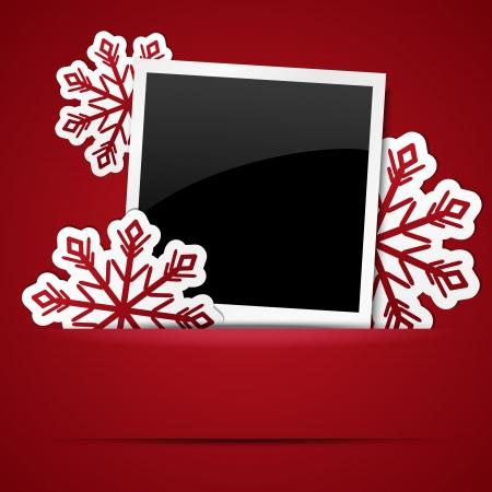 Xmas photo frame with snowflakes Vetores
