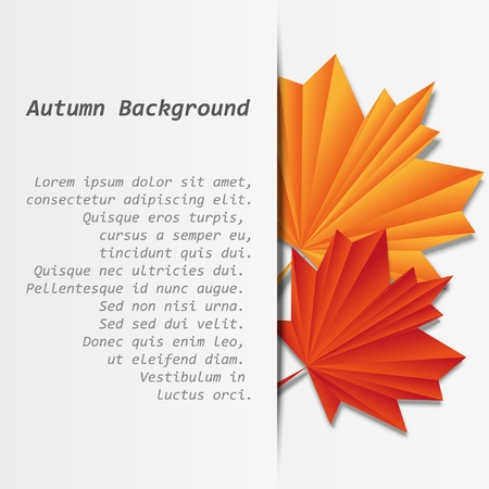 Paper banner with origami maple leaves Vector