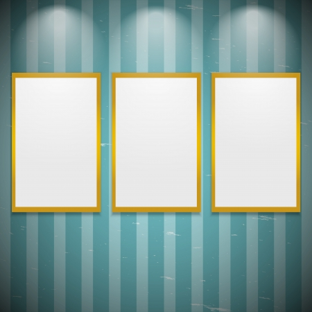 Frames on the wall with light Stock Vector - 15050543