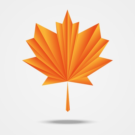 Paper origami maple leaf Vector