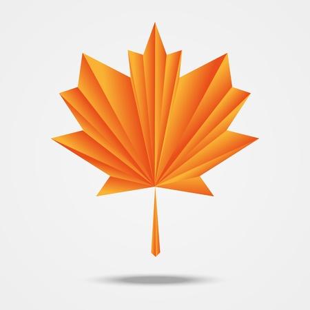 Paper origami maple leaf Stock Vector - 15050506