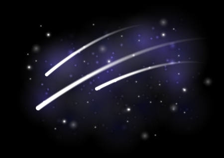 Shiny meteors in starry sky Vector