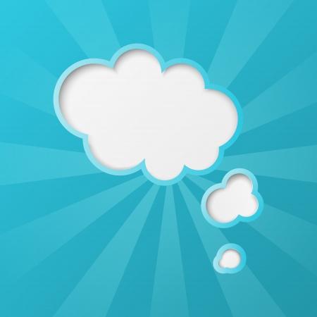 Papier Wolken Hintergrund mit Sonnenstrahlen Vektorgrafik