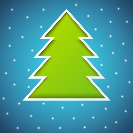 Paper Xmas tree on blue Vector