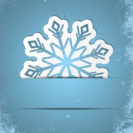 snow flakes: Retro gestileerde achtergrond met Kerstmis sneeuwvlok