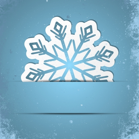 snow flakes: Retro stylized background with Xmas snowflake