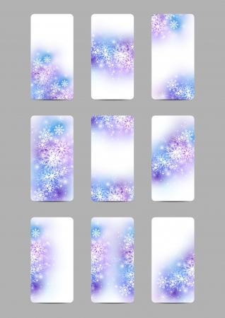 Set of snowflake banners with light elements Vector