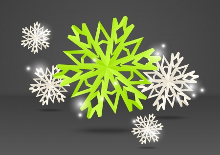 Paper origami snowflakes on grey background Vector