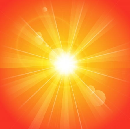 sun rays: Orange sunny background
