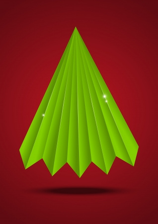 origami pattern: Green origami Christmas tree on red