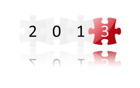 New Year 2013 puzzle icon Stock Vector - 15497043