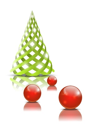 Green Christmas tree with glossy balls Stock Vector - 15497181