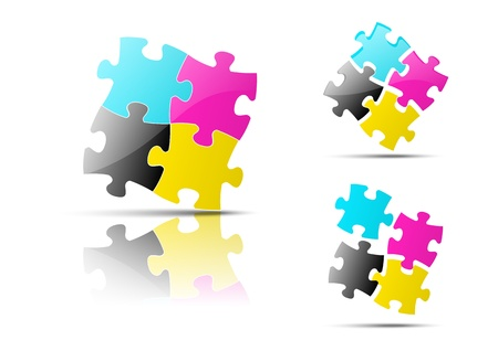 4 color printing: Set of three CMYK icons
