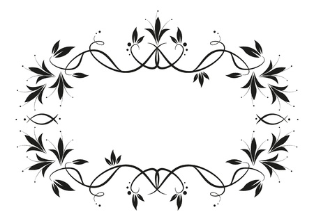 curve line: Floral frame isolated on white