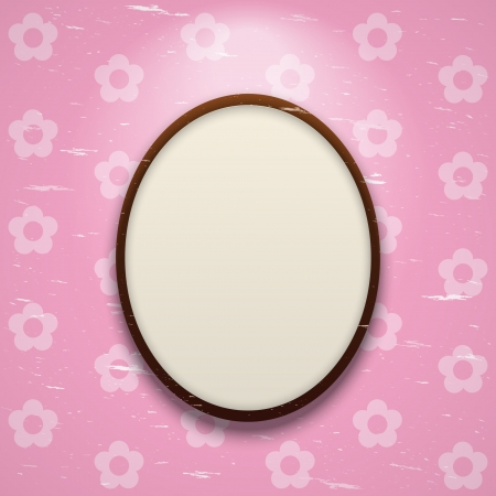 Round frame in front of pink wall background Stock Vector - 15497246