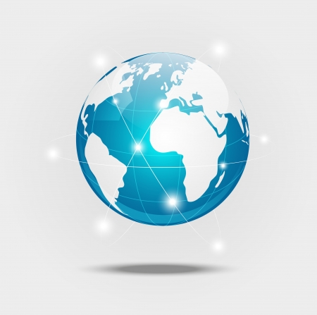 international internet: Earth planet - concept of global communication Illustration