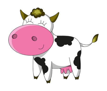 Happy cow cartoon character isolated Vector