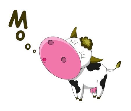 vaca: Personaje de dibujos animados feliz vaca aislado Vectores