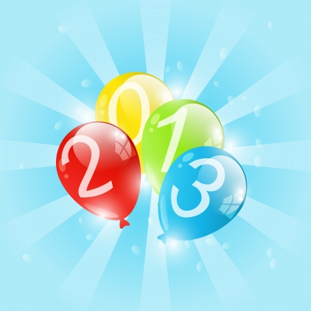 Color balloon with numbers 2013 Vector