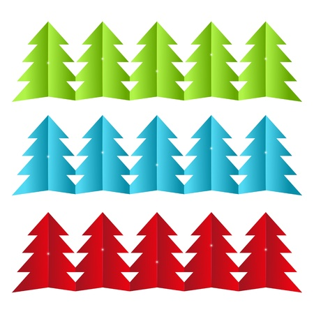 Set of paper Xmas tree borders Vector