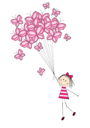 butterflies flying: Cute girl flying with butterflies