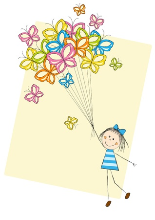 girl drawing: Cute girl flying with butterflies
